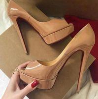 럭셔리 디자이너 하이힐 여성의 신발 단독 하이힐 레드, 블랙 가죽 섹시한 슈퍼 하이 힐 무도회 파티 드레스 신발 누드 빨간색