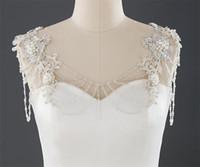 Crystal Bling Beaded White Bridal Wraps Beading Lace Bateau Wedding Shawl Jacket Bolero Wrap Bridal Wedding Wrap Dress Accessories Prom