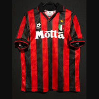 Ретро AC Milan футбол для футбола Papin Albertini Creailly Maldini Laudrup Baresi Bierhoff Leonardo Weah Шевченко Винтажный комплект классической рубашки