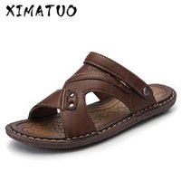 Summer Sandals For Men Leather Beach Breathable Sandals Comf...
