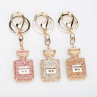 Moda Perfume Garrafa Keychain Jóias 3 Cores Rhinestone Cristal Twinkling Keyring Meninas Lembranças Handbag Charme Pingente Presente