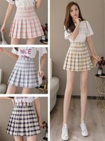 High Waist Pleated Skirt Anime Cosplay School Uniform Student Girl Pleated Skirt Plaid Plus Size Skirts Womens New 2020