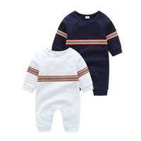 Niños infantiles Romper 2020 Otoño Nuevo niño pequeño niños Stripe de manga larga Monga de manga para niños Newborn Kids Pañal de algodón Kids Designer Ropa A3831