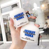Caso lindo del licor de vodka de Rusia 3D para Apple AirPods 2 de carga cubierta de protección de silicona blanda auriculares caja para airpods Pro 3 Coque