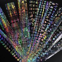 4 * 100см / рулон Голографическая фольга для ногтей Пламя одуванчика Панда Бамбука Holo Nail Art Transfer Наклейка Вода Слайд Ногтей Искусство Наклейки