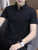 Liseaven Homens 2020 de abertura de cama t-shirts Collar Slim Fit Algodão Camisetas cor sólida curto T-shirt Camisa ocasional dos homens de Homme