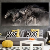 1 Panel Three Running Black Horse Posters and Prints Canvas ...