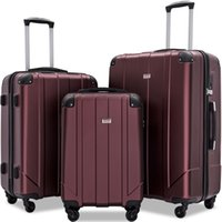 """3 piezas de equipaje Conjunto, Portátil ABS caja de la carretilla de 20"""" / 24"""" / 28"""" Rojo, ampliable 8-Wheel Spinner Spinner Juego de equipaje con la manija telescópica, Bacalao"""