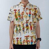 EaseHut Büyük Beden Erkek Pamuk Gömlek Vintage Düzensiz Çiçek Baskı Standı Yaka Kısa Kollu Yaz Tatili Casual Bluz Tops