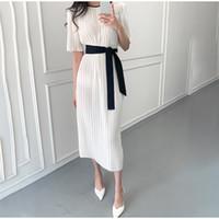 Drapée rayé élégante robe longue slim femme Bureau Lady manches mi-longues taille haute Maxi Robes Femme 2020 Summer O-Neck Vestdios