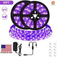 Strip luz 33 pés UV Preto 12V flexível Blacklight com 600 Unidade Uv Beads para lâmpadas, fita Luz 10M LED Preto, UV iluminação, cama do quarto