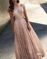 Moda de oro rosa con lentejuelas de Bling de baile vestidos de los vestidos de noche del hombro con cuentas sin respaldo cristalino barato cóctel desfile de vestido barato