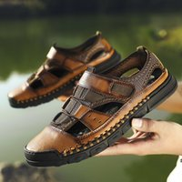 2020 New Men Sandals Genuine Leather Summer Beach Breathable...