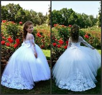 flower girl dresses White Lace Appliques Jewel Neck Illusion Long Sleeve Ball Gown Floor Length Princess Beautiful Bridal Dress