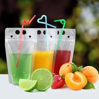 Bolsas Bebida claro mate com Juice Straw bolsas saco Heavy Duty Hand-Held Bebida translúcido Reclosable Zipper plástico Bolsas Bolsas