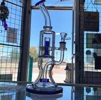 10,6-Zoll-Grün Blau mit gebogenem Hals transparent kleines Rad mit eingebauten im grünen Kern Reflow Recyler Glas Wasser Bongs 14,4 mm Bowl