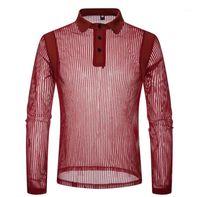 Длинные рукава нагрудные шеи рубашки поло Новые Мужская одежда Мужская Sexy See Through Polo Мода Solid Color Полосатый
