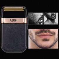 Kemei barbeador elétrico para homens gêmeo Lâmina Waterproof USB alternativa Cordless Rechargeable Navalha Barbear Máquina Barber Trimmer xhhair IDEZ
