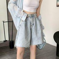 Frauen-Denim-Shorts Cowboy ins Designer Sommer adrette Art Mädchen-Denim-Jeans beiläufige dünne hohe Taille A-Linie breite Beinhosen