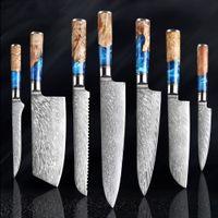 Küchenmesser-Set Damaszener VG10 Kochmesser Cleaver Schnipsel-Brotmesser Blau Harz und Farbe Holz handhabendes Werkzeug Kochen