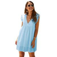 여름 여성 2020 새로운 패션 여성 캐주얼 흰색 드레스 vestidos에서 중공 느슨한 드레스 섹시한 V 넥 레이스 주름 장식 드레스