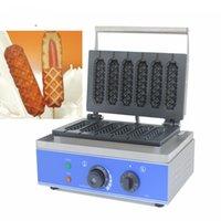 Kommersiell Non-Stick 6 Stick Electric French Muffin Waffle Hot Dog Machine Lolly Waffle Maker Crispy Stick Machine