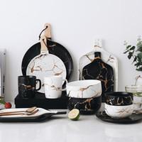 Los mejores vidrios de mármol de oro vajilla de cerámica conjunto de vajillas de porcelana Placas de desayuno Platos Taza de fideos Taza de café Taza para decoración