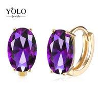 Charme de luxe couleur violet ovale brillant zircone zircone cerceau boucle d'oreille bohémie mignonne design beau bijoux amour cadeau pour petite amie 2021