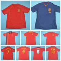 1994 2002 2008 2010 2010 Retro Espanha Vintage Iniesta Soccer Jersey Torres Helguera Xavi Alonso Pique Davad Sergio Paco Camisa Kits
