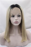 Ombre 1B Blonde 2 Tones Synthetic Lace Front Wig Dark Roots ...