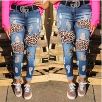 Women leopard jeans Ripped skinny pants hole Tight leopard t...