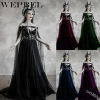 WEPBEL Lace Off-die-Schulter-Königin-Kleid Cosplay Maxikleid S-5XL Plus Size Frauen Mittelalterliche Renaissance-Kleid