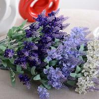 10 глав Романтический Прованс Лаванда Шелковый Искусственные цветы Фиолетовый букет Пластиковые Поддельный цветок Белый для дома Свадебные украшения