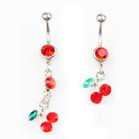 D0091 (1 Renk) Kiraz Kırmızı Renk Belly Düğme Göbek Yüzükler Vücut Piercing Takı Dangle Aksesuarları Moda Charms (10 adet / grup) JFB-2643