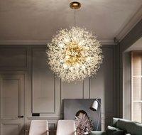 Diente de león moderno LED Luz de techo Cristal Chandeliers Iluminación Globo Bola Lámpara colgante para comedor dormitorio sala de estar iluminación