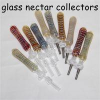 Collecteur de nectar de verre Mini DAB Piches de paille Naviochahs avec astuces à quartz 10mm Pièces à huile Pipe en silicone Pipe Silicone Accessoires Fumeur