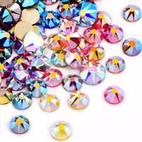 5 Boyutları Kristal AB Reçine Olmayan Sıcak Düzeltme Rhinestones Flatback Kristal Glitter Rhinestones Tırnak Sanat Dekorasyon Için Tutkal