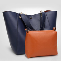 Ready Stock Laimall 2in1 Fashion Tote Bag Shoulder Bag Set European and American Simple Fashion Leather Handbag