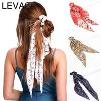 LEVAO Çiçek Baskı Scrunchie Moda Kadınlar Saç Eşarp Elastik Bohemian Hairband Bow Saç Kauçuk Halatlar Kız Bağları Aksesuarlar