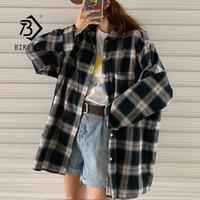 Новое прибытие женщин Vintage Крупногабаритного Harajuku клетчатой рубашка Batwing рукав кнопка Up ретро Длинной Блуза Матового Feminina Blusa T0540