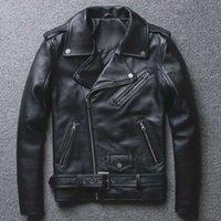 Cuir pour hommes Faux Fashion Véritable 2021 Veste Hommes Hommes Zipper à glissière de la diagonale Vêtements de moto Youth Slim Fit Coche Collier