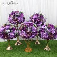 Dekoratif Çiçekler Çelenk Özel 35/45 cm Yapay Çiçek Topu Standı Mor Lavanta Centerpieces Düzenleme Dekor Düğün Kemer Masa B