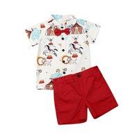 Ensembles de vêtements 1-5y bébé bébé bébé garçons vêtements dessin animé chemise à manches courtes tops shorts de chemisier tenues gentlemen set