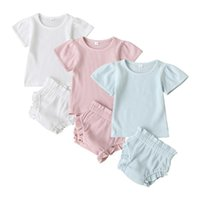 infant baby boys girls short sleeve solid tops pullover bottoms toddler kids baby girl boy clothing sets 2pcs 6M-3Y