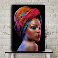 Arte Retrato desnudo labios rojos impresiones del cartel africano de la mujer atractiva de la lon Pintura escandinava Arte cuadro de la pared de la sala de estar Decoración