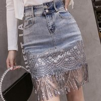 High- end Luxury Women Denim Mini Skirt Fashion Sexy Sequin E...