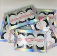 2020 Der neueste Falsche Wimpern 3d Nerz Wimpern 3 Paar dicke Faux 3D-Echt Nerz Wimpern mit einer Pinzette in Box 6styles Wimpern
