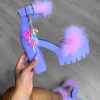 talons hauts chunky ornement mignon sandales à fourrure pour femmes femmes pompes duveteuse plate-forme de chaussures de fourrure