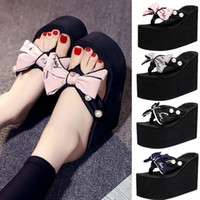 Fashion Wedges Shiny Slippers Woman Shose Ladies Girls Slippers Shiny Pearl Bowknot Summer Beach Shoes Chaussons