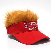Trump capelli del cappello Trump 2020 Lettera ricamo divertente Snapback parrucca regolabile Hip Hop unisex Visor Cap jf0034